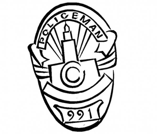 Police Badge, : Oval Policeman Badge Coloring Page
