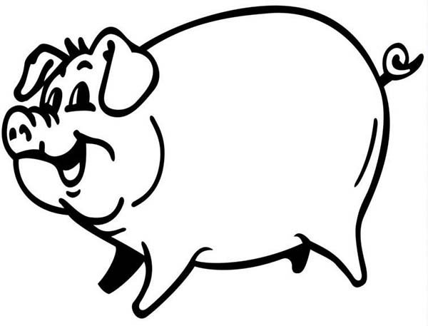 Pig, : P is for Pig Coloring Page