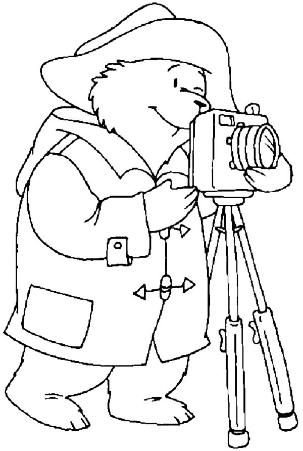 Photography, : Paddington with a Camera in Photography Coloring Page