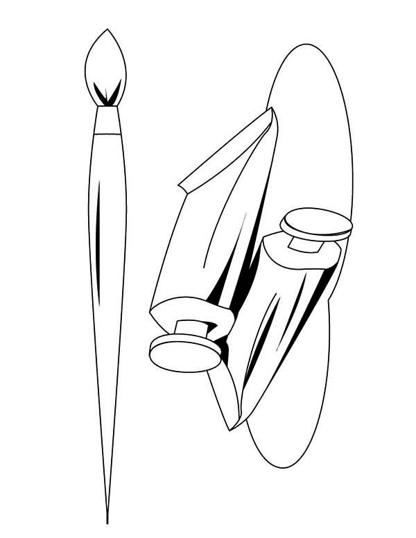 Paint, : Paint Brush Picture Coloring Page