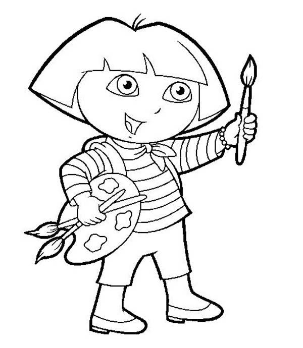 Paint, : Paint Dora Paint Coloring Page