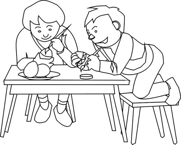 Paint, : Paint Easter Eggs with Friend Coloring Page