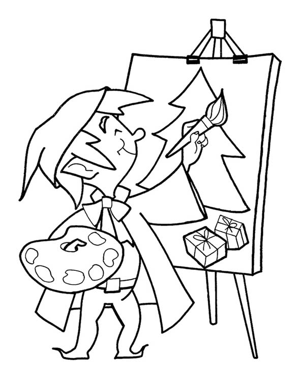 Paint, : Paint a Christmas Tree Coloring Page