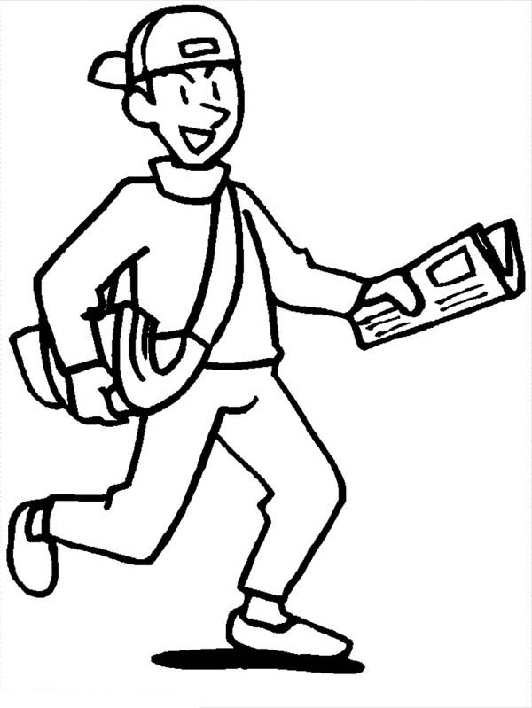 People, : Paperboy Delivery Newspaper to People Coloring Page