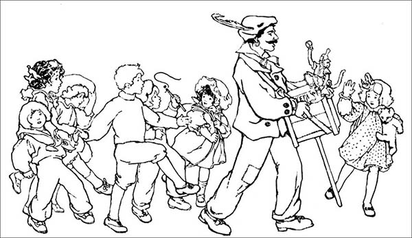 People, : People Following Magician Show Coloring Page