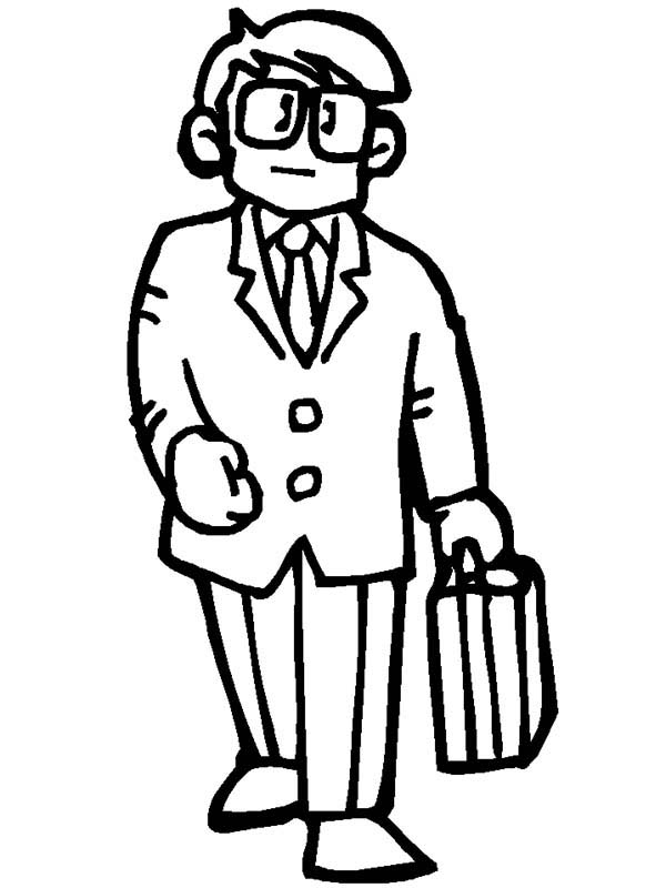 People, : People Going to Work Coloring Page