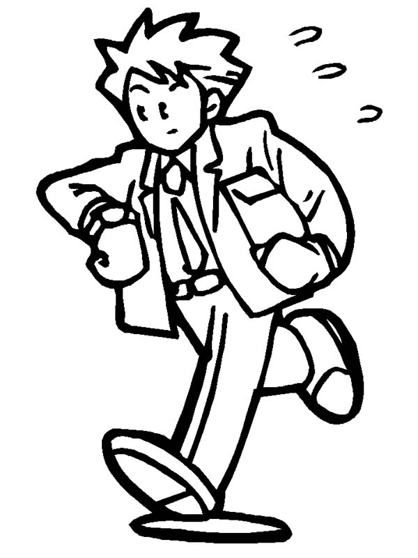 People, : People in Hurry to Work Coloring Page