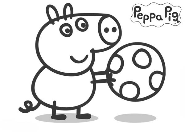 Peppa Pig, : Peppa Pig Brother George Playing Football Coloring Page