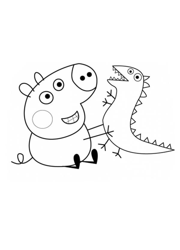 Peppa Pig, : Peppa Pig Brother George and His Dinosaurus Toy Coloring Page