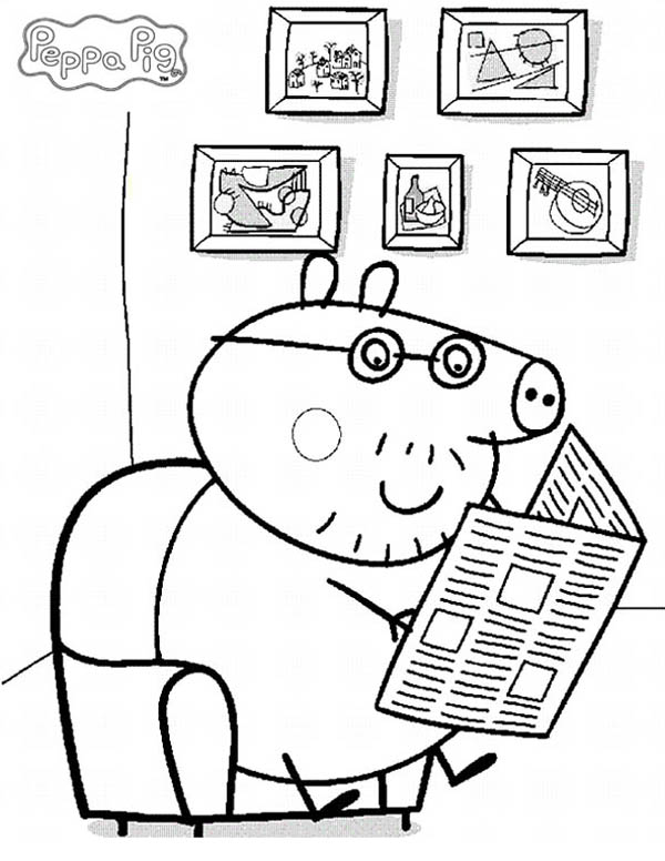 Peppa Pig, : Peppa Pig Daddy Sitting Quietly Read Newspaper Coloring Page