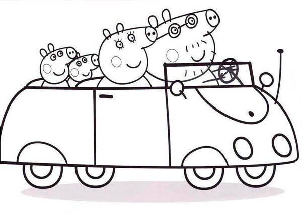 Peppa Pig, : Peppa Pig Family Going to Town with Car Coloring Page