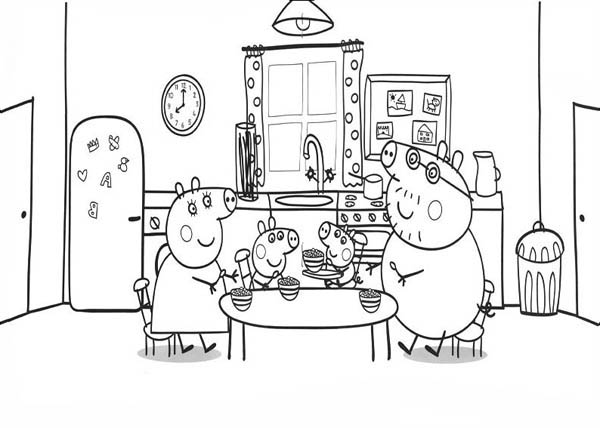 Peppa Pig, : Peppa Pig Family in Dining Room Coloring Page