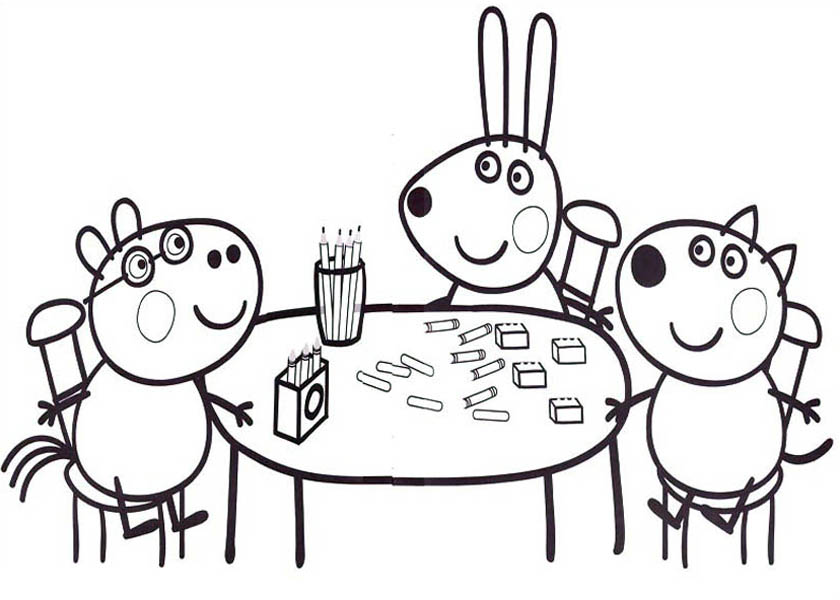 Peppa Pig, : Peppa Pig Friends Studying Math Coloring Page