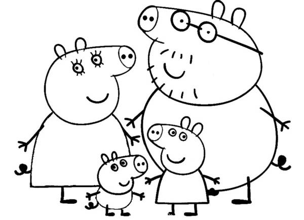 Peppa Pig, : Peppa Pig Happy Family Coloring Page