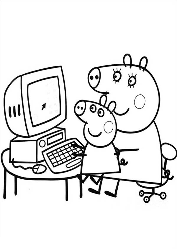 Peppa Pig, : Peppa Pig Learnto Use Computer with Mommy Pig Coloring Page