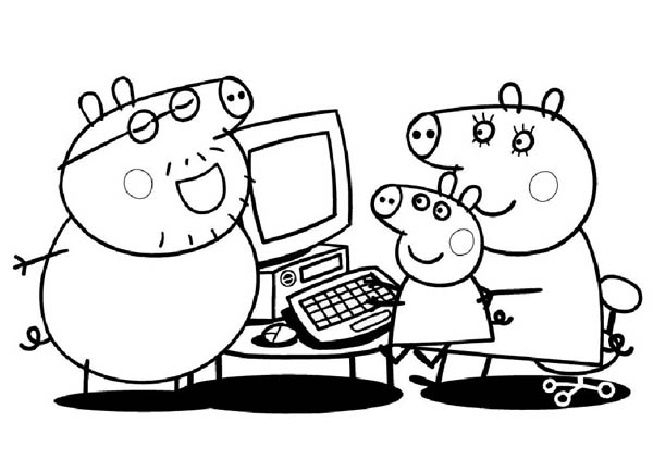 Peppa Pig, : Peppa Pig New Computer from Daddy Pig Coloring Page