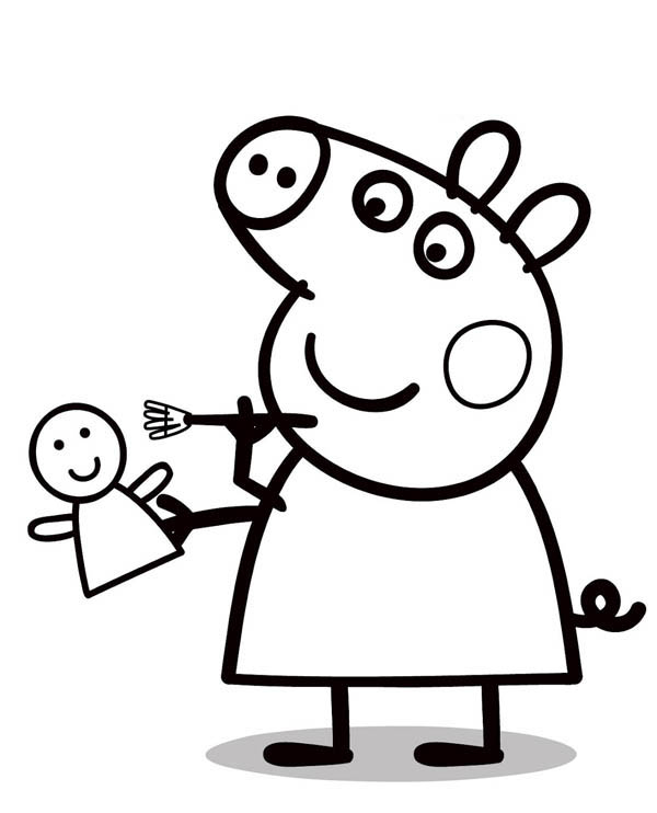 Peppa Pig, : Peppa Pig Painting a Doll Coloring Page