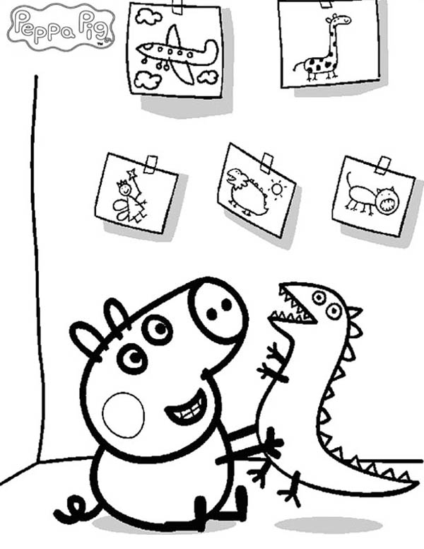 Peppa Pig, : Peppa Pig Playing at Kindergartens Coloring Page