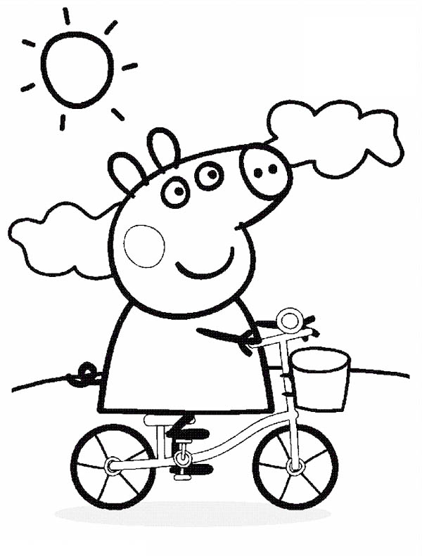 Peppa Pig, : Peppa Pig Wander Around with Bicycle on Sunny Day Coloring Page