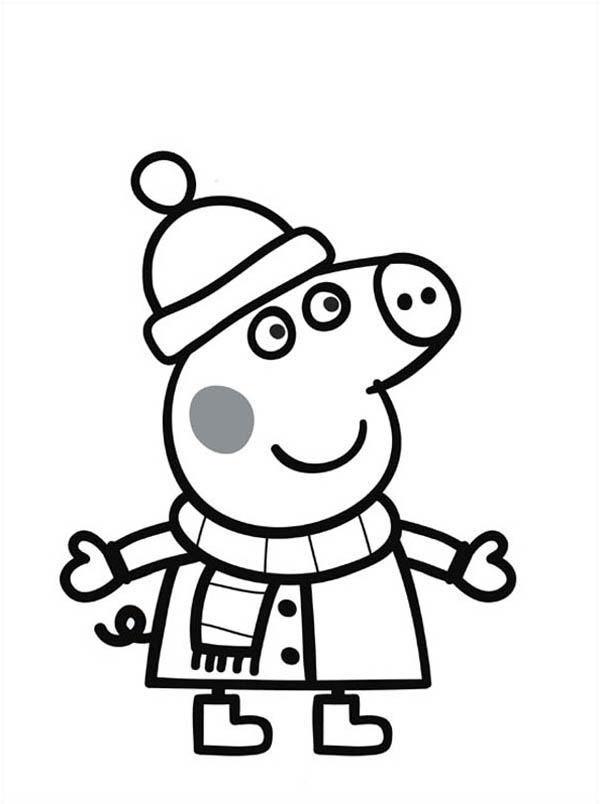 Peppa Pig, : Peppa Pig Wearing Winter Clothes Coloring Page