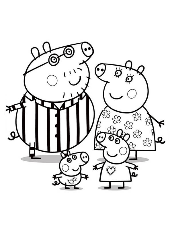 Peppa Pig, : Peppa Pig Whole Family Coloring Page