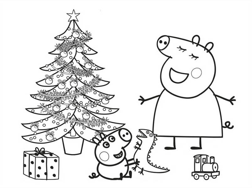 Peppa Pig, : Peppa Pig and George Opened Their Christmas Present Coloring Page