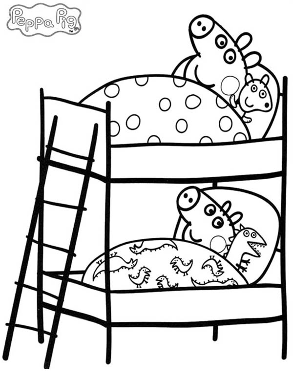 Peppa Pig And His Little Brother Bed Coloring Page : Coloring Sky