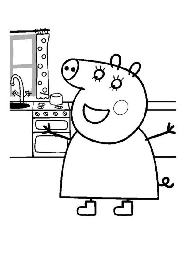 Peppa Pig, : Peppa Pig is Happy Coloring Page