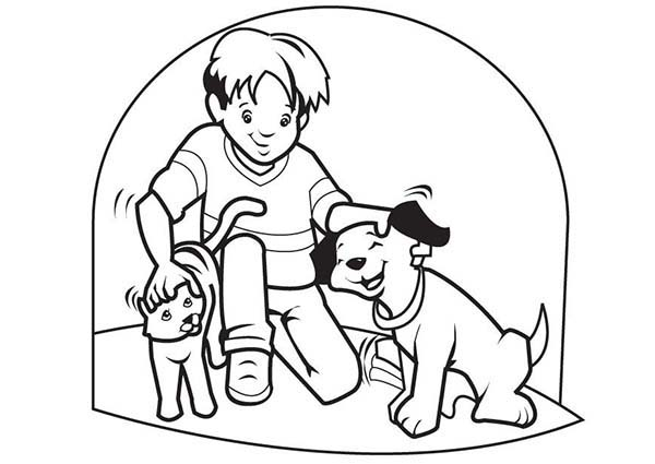 Pet, : Pet Cat and Pet Dog Coloring Page