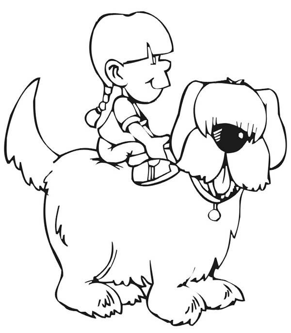 Pet, : Pet Dog Carrying His Master on His Back Coloring Page