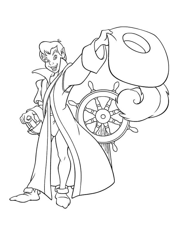 Peter Pan, : Peter Pan Dressed Like Pirate Coloring Page