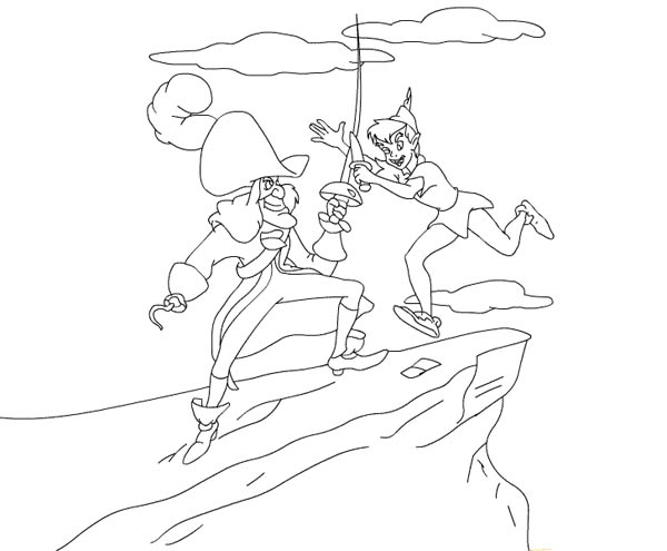 Peter Pan, : Peter Pan Duel with Captain Hook Coloring Page