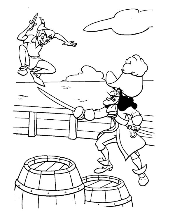 Peter Pan, : Peter Pan Fight with Captain Hook Coloring Page