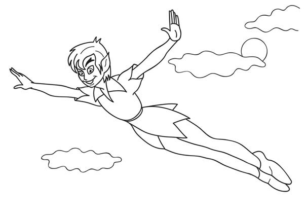 Peter Pan, : Peter Pan Flying to the Clouds Coloring Page