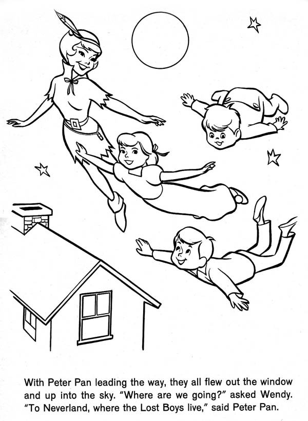 Peter Pan, : Peter Pan Take Wendy and Her Brothers to Neverland Coloring Page