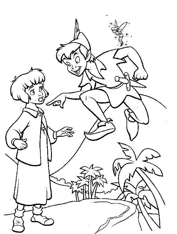 Peter Pan, : Peter Pan Talk to Wendy Coloring Page