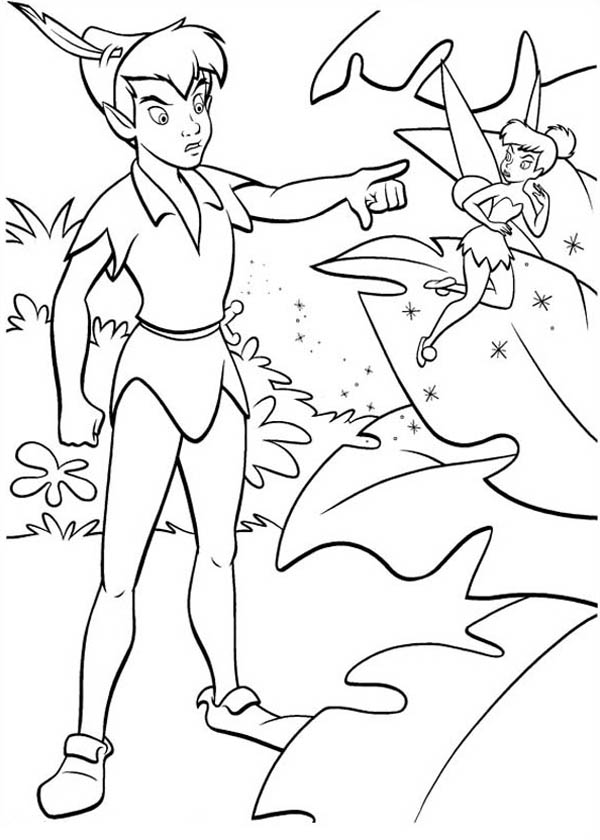 Peter Pan, : Peter Pan a Little Mad with Tinkerbell Coloring Page