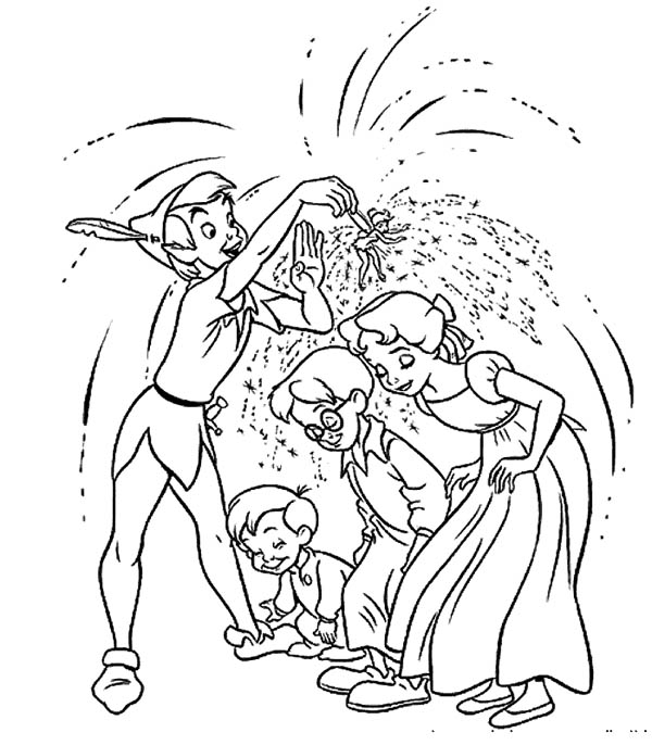 Peter Pan, : Peter Pan and Tinkerbell Spread Pixie Dust to Wendy and Her Brothers Coloring Page