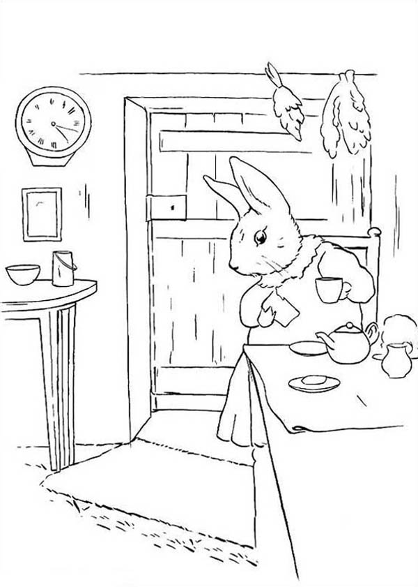 Peter Rabbit, : Peter Rabbit Mother Make Some Tea Coloring Page