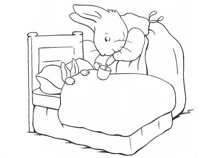 Peter Rabbit, : Peter Rabbit Mother Take Peter Rabbit Sister to Bed Coloring Page