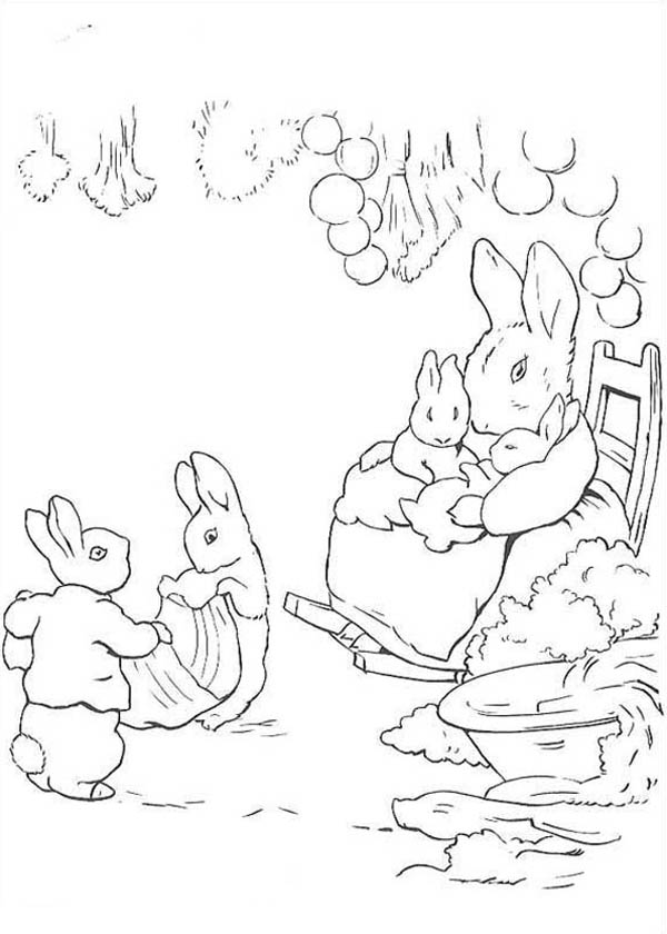 Peter Rabbit, : Peter Rabbit Mother Taking Care of His Sister Coloring Page