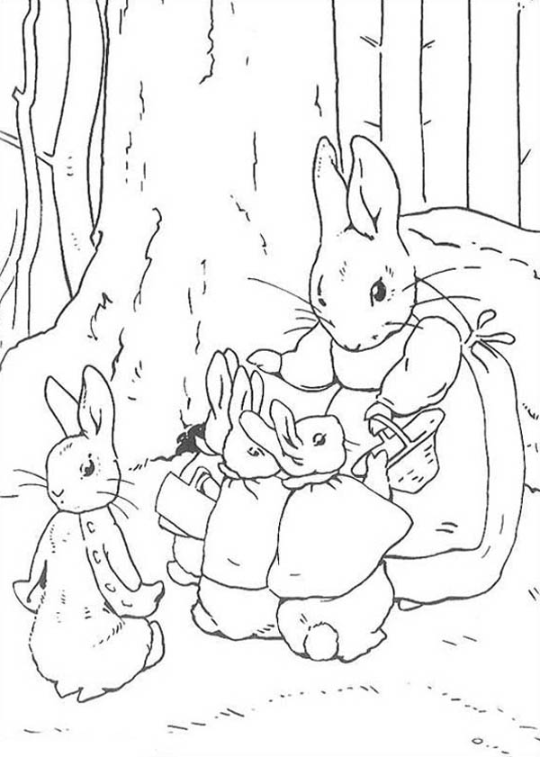 Peter Rabbit, : Peter Rabbit Mother Told Peter Rabbit Sister to Shop Coloring Page
