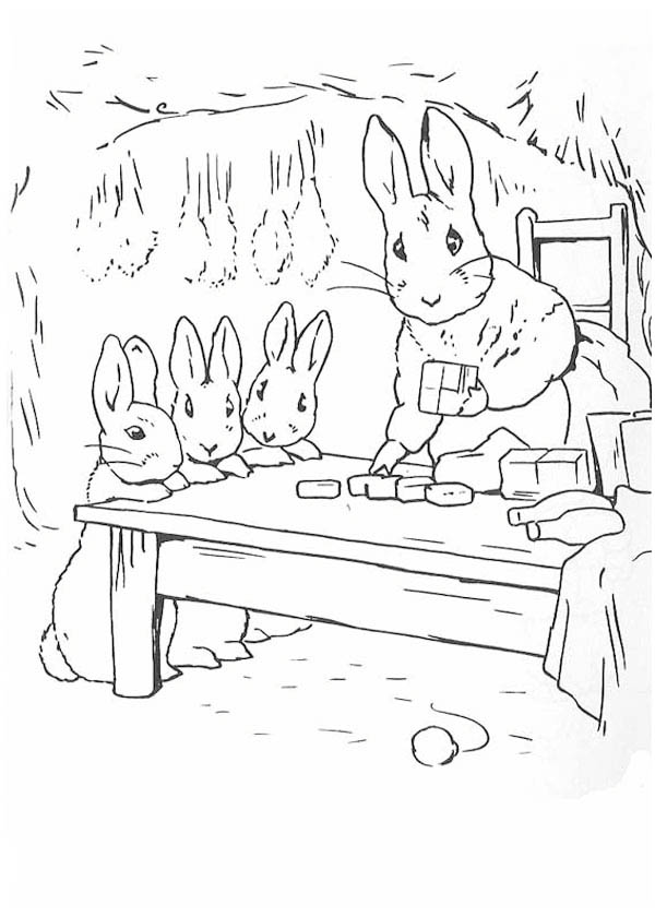 Peter Rabbit, : Peter Rabbit Mother and Sister Preparing Dinner Coloring Page