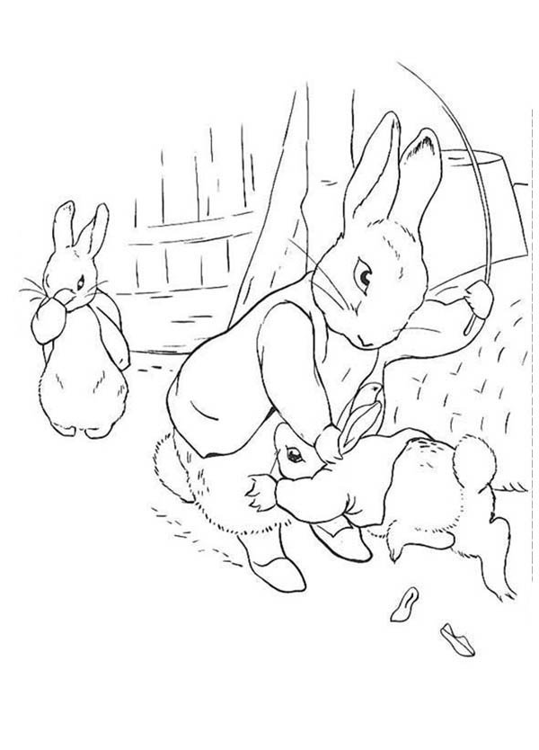 Peter Rabbit, : Peter Rabbit Punish Sister by Hitting Her at Back Coloring Page
