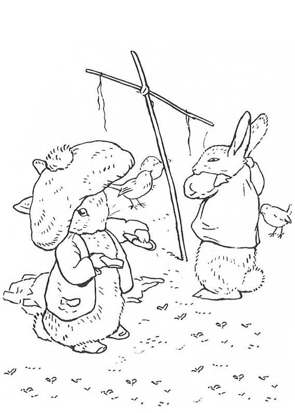 Peter Rabbit, : Peter Rabbit Taking Off His Clothes Coloring Page