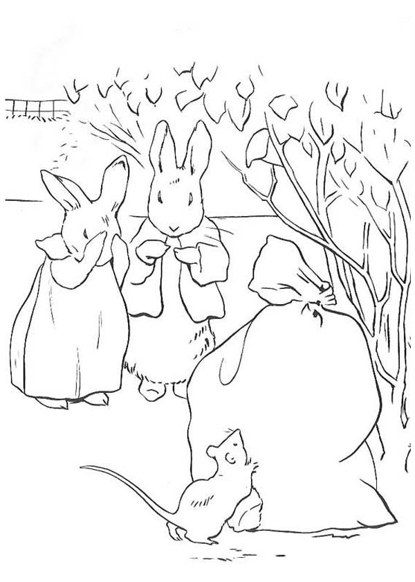 Peter Rabbit, : Peter Rabbit and His Mother Found Out Mouse Eating Their Bag of Carrot Coloring Page