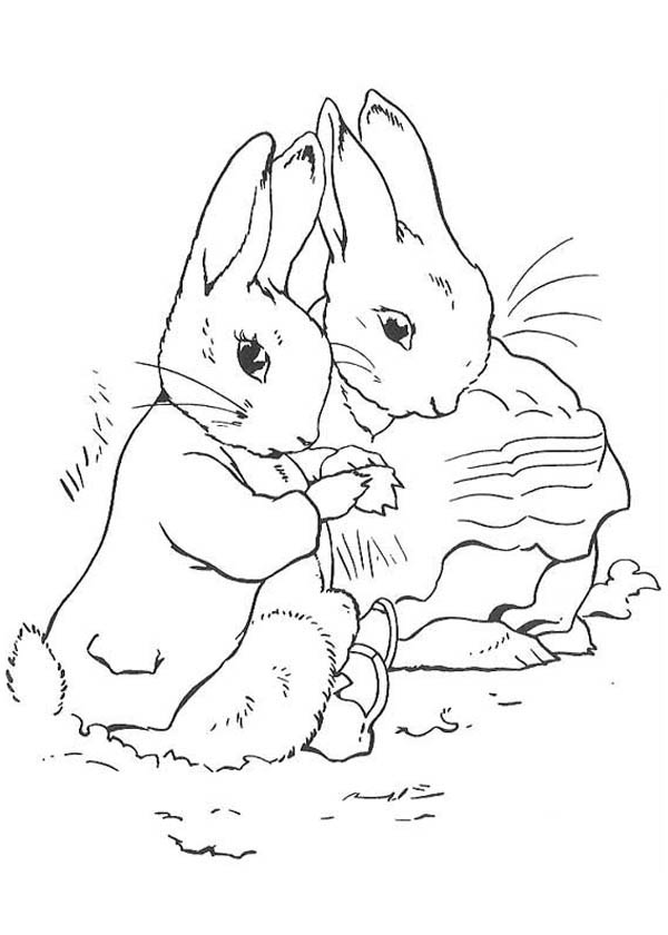 Peter Rabbit, : Peter Rabbit and His Mother Get into Blanket It is Cold Coloring Page
