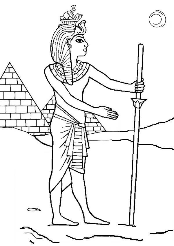 Pyramid, : Pharaoh Who Build Pyramid Coloring Page