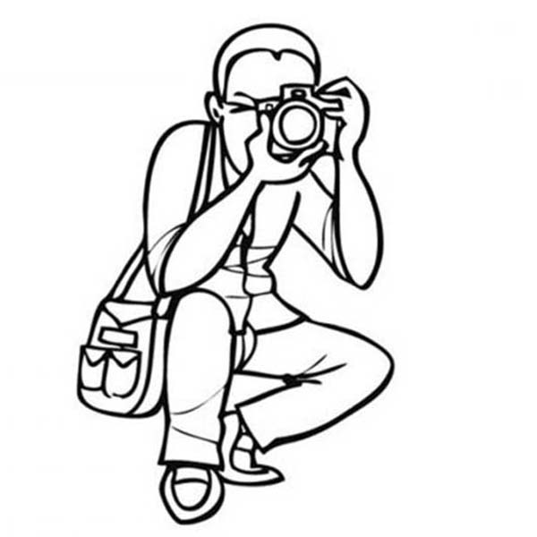 Photography, : Photographer Doing Photography Coloring Page