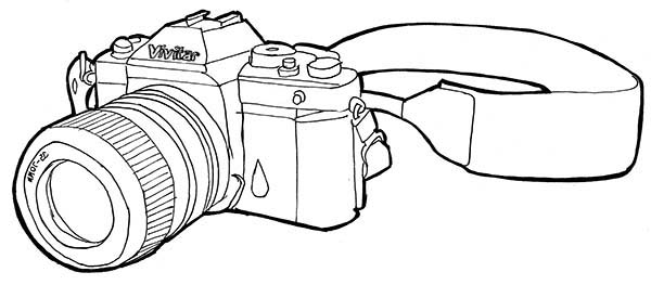 Photography, : Photography Professional Camera Coloring Page